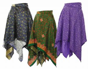 Hippy Skirt - Recycled Saree Pixie Bottom Wrap Around Reversable Skirt - Fair Trade - Folio Gothic Hippy